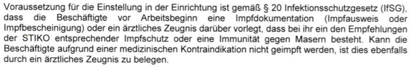 Auszug aus dem Vertrag zur Impfung